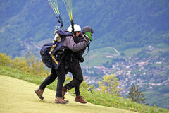 Tandem Paraglider launching Royalty Free Stock Photo