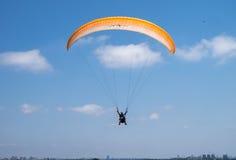 Tandem paragliding above Mediterranean sea Stock Photos