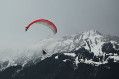 Tandem paragliding flights over the Swiss Alps Royalty Free Stock Photos