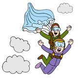 Tandem Sky Diving Woman Royalty Free Stock Images