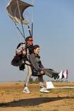 Tandem  skydive landing. Close up of a tandem parachute landing with passenger Stock Photos