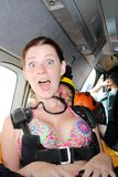 Skydiving. Tandem passenger before a jump. royalty free stock photography