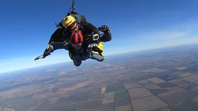 Tandem Skydiving. The moment of opening the parachute. Tandem Jump. Free Fall. Mayskoe, Dnepr, Oktober 14, 2018: Tandem Skydiving. The moment of opening the stock footage