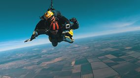 Tandem Skydiving. The moment of opening the parachute. Tandem Jump. Free Fall. Mayskoe, Dnepr, Oktober 14, 2018: Tandem Skydiving. The moment of opening the stock video footage