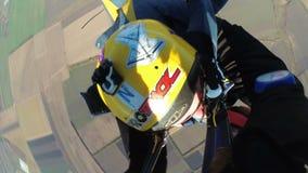 Tandem Skydiving. Tandem Jump. Parachutists in Long Free Fall. Slow Motion. Mayskoe, Dnepr, Oktober 14, 2018: Tandem Skydiving. Tandem Jump. Parachutists in Free stock footage