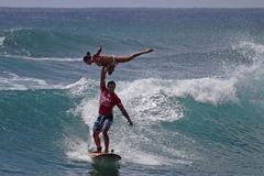Tandem Surfers Stock Photo