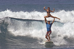 Tandem Surfing Royalty Free Stock Photos