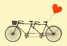 Tandemowy bicykl i serce wektor Zdjęcia Royalty Free