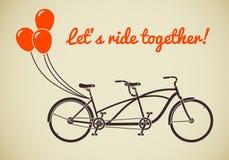 Tandemowy bicykl z balonami Obraz Stock