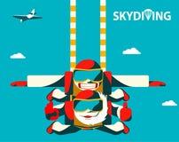 Tandemowy skydive pary doskakiwanie z samolotu Starszy starszy skacze z jej towheaded tandemowym instruktorem royalty ilustracja