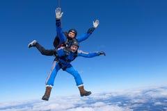Tandemt hoppa med fritt fall Två grabbar är i den blåa himlen arkivfoton