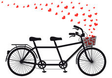 Tanden bicycle with red hearts, vector. Tanden bicycle with flying red hearts, vector illustration for Valentines day, wedding Royalty Free Stock Photo