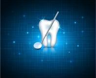Tanden met spiegel op een technologieachtergrond Stock Afbeeldingen
