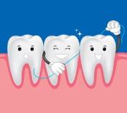 Tanden met tandzijde Stock Afbeelding