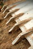 Tanden op een bulldozerlepel Royalty-vrije Stock Fotografie