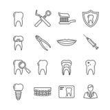 Tanden, pictogrammen van de tandheelkunde de medische lijn Royalty-vrije Stock Fotografie
