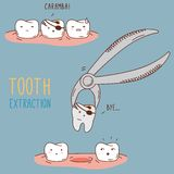 Tandenbehandeling en zorg Tandinzameling van stock illustratie