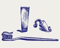 Tandenborstel en tandpasta Stock Fotografie