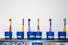 Tandenborstels in glazen, Concept tandhygiëne in kleuterscholen stock foto's