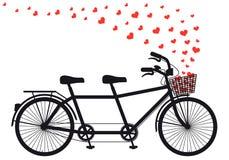 Tandenfiets met rode harten, vector Royalty-vrije Stock Foto