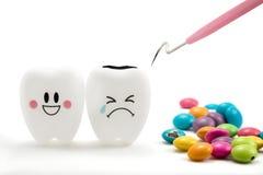 Tandenglimlach en schreeuwende emotie met tandplaque schoonmakend hulpmiddel Royalty-vrije Stock Fotografie