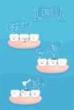 Tandenstrippagina over de oorzaak van tandbederf Stock Foto's