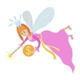 Tandfe med en trollspö och ett mynt Royaltyfri Foto