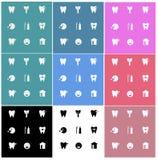 Tandgezondheids vlakke pictogrammen kleurrijk Stock Fotografie