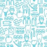 Tandheelkundegeneeskunde, tandarts naadloos patroon vector illustratie