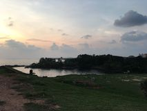 Tandis qu'après coucher du soleil Photos stock