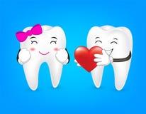 Tandkarakter die rood hart houden Stock Foto's