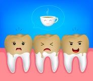 Tandkarakter met koffievlekken Royalty-vrije Stock Afbeelding