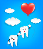 Tandkarakter met rode hartballon Royalty-vrije Stock Foto's