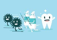 Tandkräm skyddar tänder från bakterien set vektor för teckeningrepp Arkivfoton