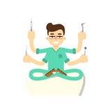 Tandläkare med tanden, vektorillustration Royaltyfri Foto