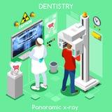Tandläkare och patient för mitt för tand- panorama- för strålröntgenfotografering för tänder x kopiering muntlig tand- stock illustrationer