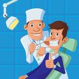 Tandläkare och tålmodig royaltyfri illustrationer