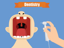 Tandläkare på arbetsillustrationen Muntligt omsorgbegrepp Hand med handpiecevektorn Arkivfoton