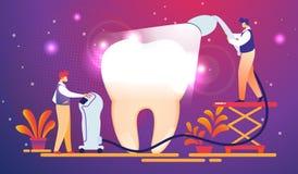 Tandläkare satte ljus kurera fyllning på den enorma tanden vektor illustrationer