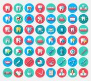 Tandläkekonstsymboler som isoleras i en plan design, utformar Beståndsdelar för vektorillustrationsymboler på ämnet av stomatolog royaltyfri illustrationer