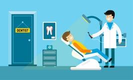 Tandläkaren manipulerar kontoret och patienten med tandvärk Arkivbilder