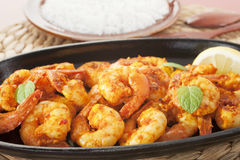 Tandoori大虾虾印第安咖喱食物膳食 免版税库存图片