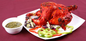 Tandoori chicken. In plater with salad Royalty Free Stock Images