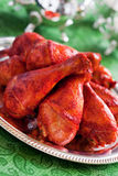 Tandoori chicken. Chicken marinated in yogurt and spices and baked (Tandoori chicken), selective focus Stock Image