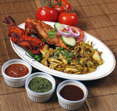 Tandoori chicken in plates Royalty Free Stock Photo