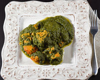 Tandoori chicken with spinach palak style. On a white dish Royalty Free Stock Images