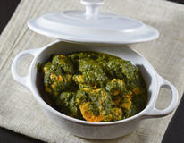 Tandoori chicken with spinach palak style. On a white pot Royalty Free Stock Photos