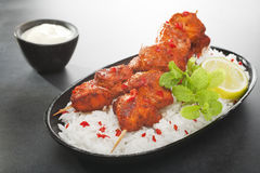Tandoori Chicken Tikka with Rice Royalty Free Stock Images