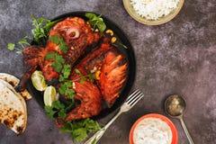 Free Tandoori Chicken Whole With Naan And Raita Royalty Free Stock Photo - 115438455
