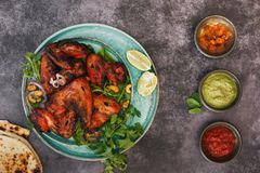 Tandoori Chicken Wings And Different Dip stock images